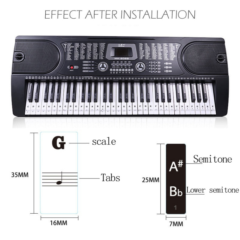 US-37-49-54-61-88-Transparent-Piano-Keyboard-Stickers-Removable-Piano-Sticker thumbnail 10