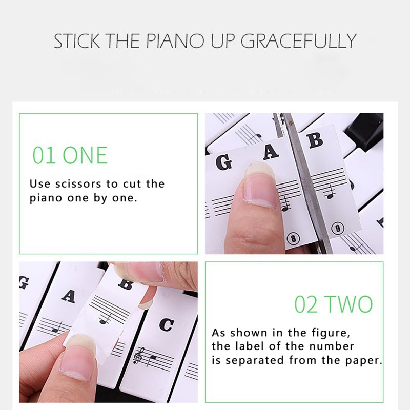 US-37-49-54-61-88-Transparent-Piano-Keyboard-Stickers-Removable-Piano-Sticker thumbnail 11