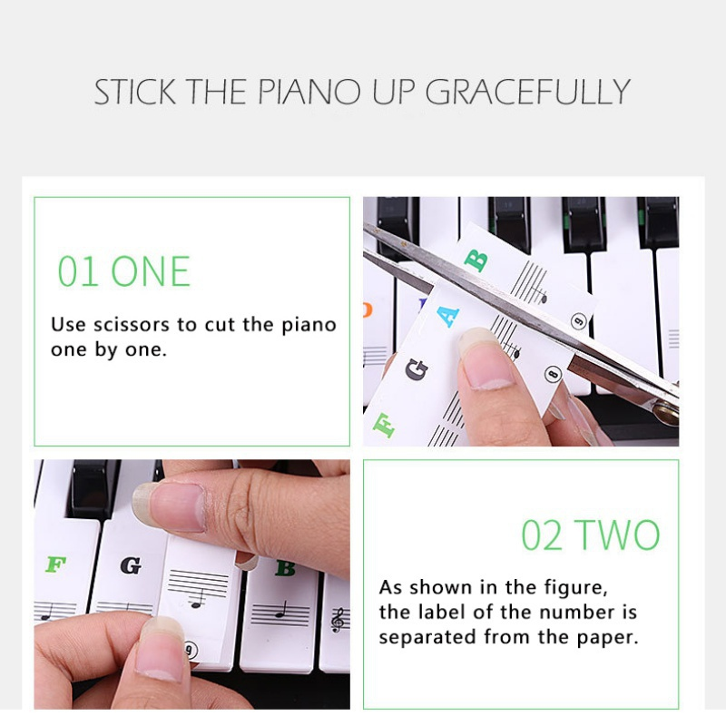 US-37-49-54-61-88-Transparent-Piano-Keyboard-Stickers-Removable-Piano-Sticker thumbnail 16
