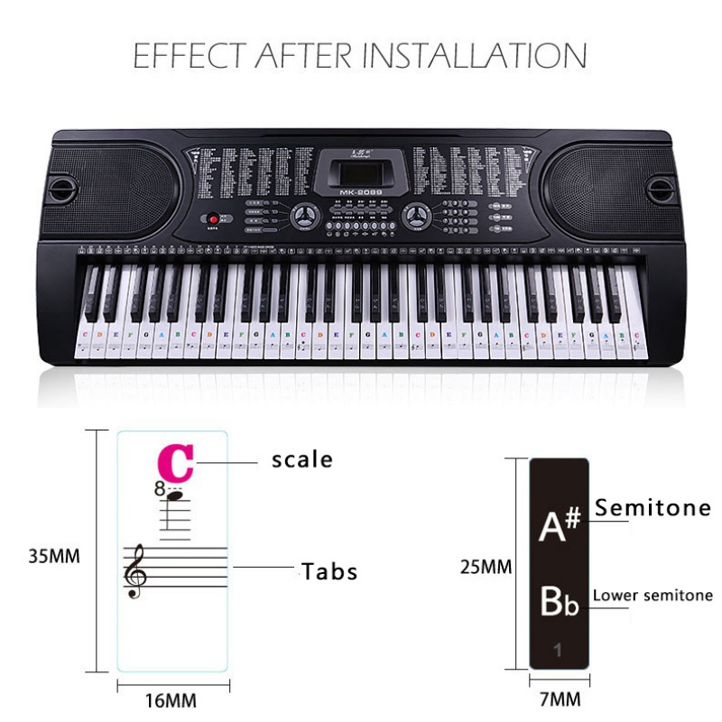 US-37-49-54-61-88-Transparent-Piano-Keyboard-Stickers-Removable-Piano-Sticker thumbnail 18